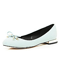 Light blue square heel ballet pumps