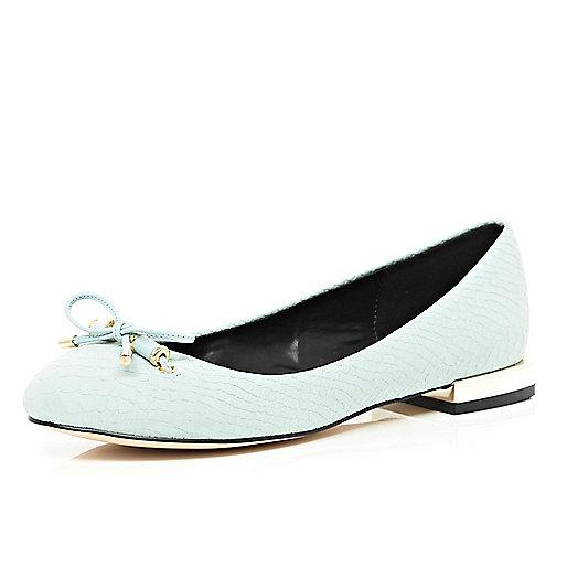 Light blue square heel ballet pumps