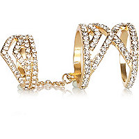 Gold tone diamante hinged double ring