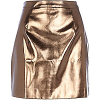Bronze metallic leather-look mini skirt