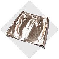 Rose gold metallic leather-look mini skirt