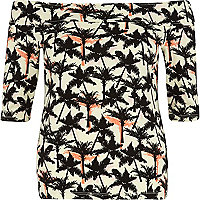 Cream palm tree print bardot top