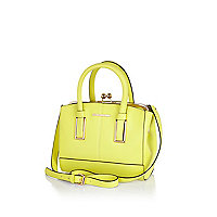 Yellow mini structured tote bag
