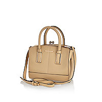 Nude mini structured tote bag