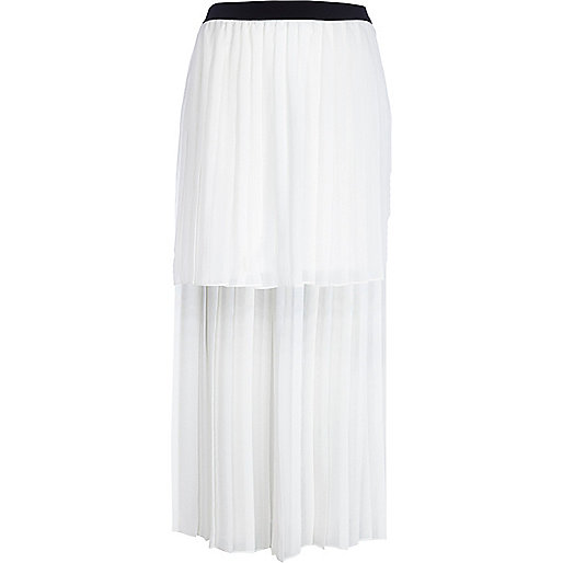Cream dip hem pleated maxi skirt
