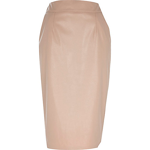 Beige high waisted leather-look skirt
