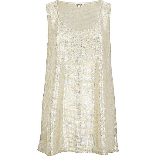 Gold metallic scoop neck vest