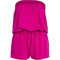 Bright pink bandeau waisted playsuit
