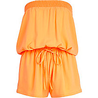 Orange bandeau waisted playsuit