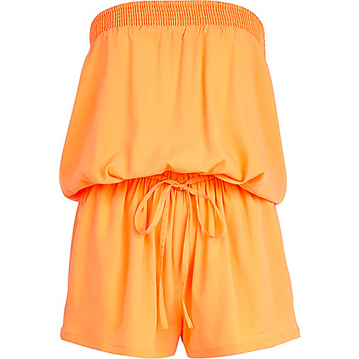 Orange bandeau waisted playsuit