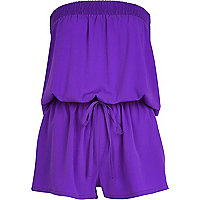 Purple bandeau waisted playsuit