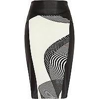 Black swirl print leather-look skirt