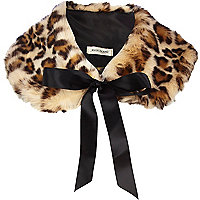Brown leopard print faux fur collar