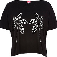 Black palm tree burnout crop t-shirt