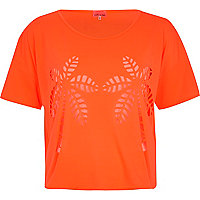 Orange palm tree burnout crop t-shirt