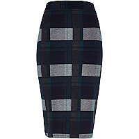 Dark green check pencil skirt