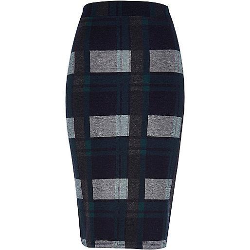 Dark green check pencil skirt