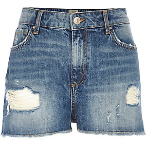 Light ripped high waisted Darcy denim shorts