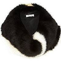 Black and white faux fur snood