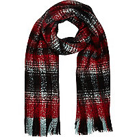 Red blurred tartan blanket scarf