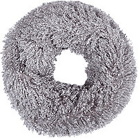 Grey faux mongolian fur snood