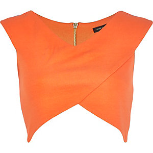 Orange wrap crop top