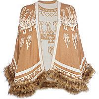 Beige batik print faux fur trim blanket cape