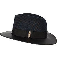 Black tartan leather-look brim fedora hat
