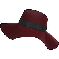 Dark red oversized fedora hat