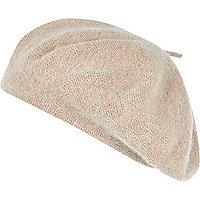 Beige fluffy beret hat