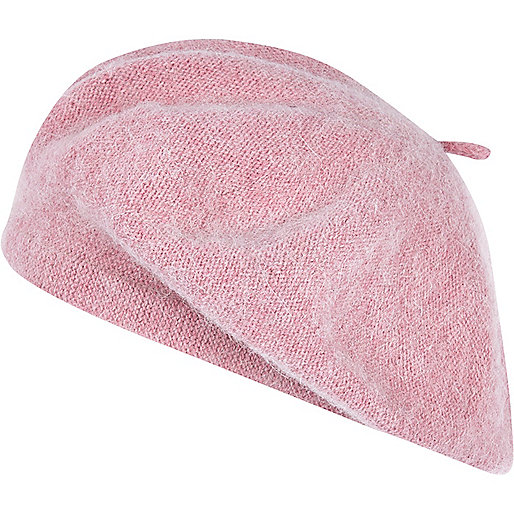 Light pink fluffy beret hat