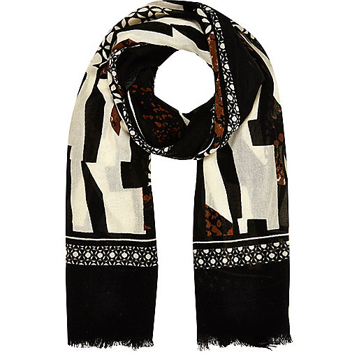Cream mixed print lightweight scarf