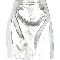 Silver metallic leather-look mini skirt