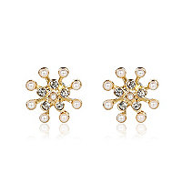 Gold tone faux pearl stud earrings