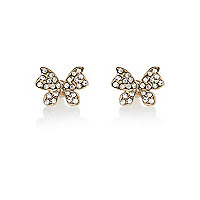 Gold tone encrusted butterfly stud earrings
