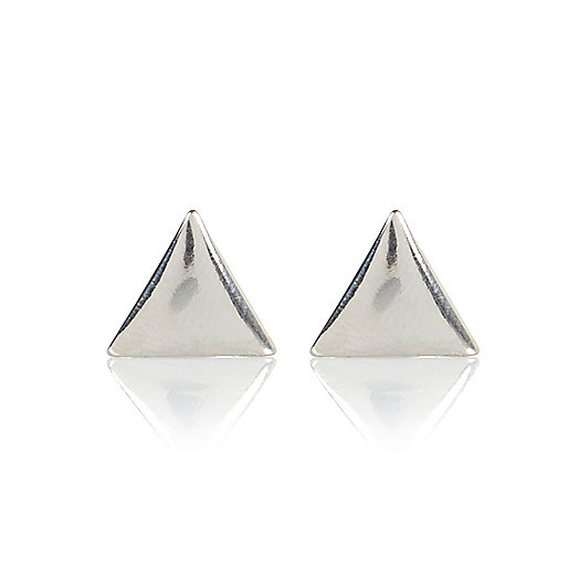 Silver tone triangle stud earrings
