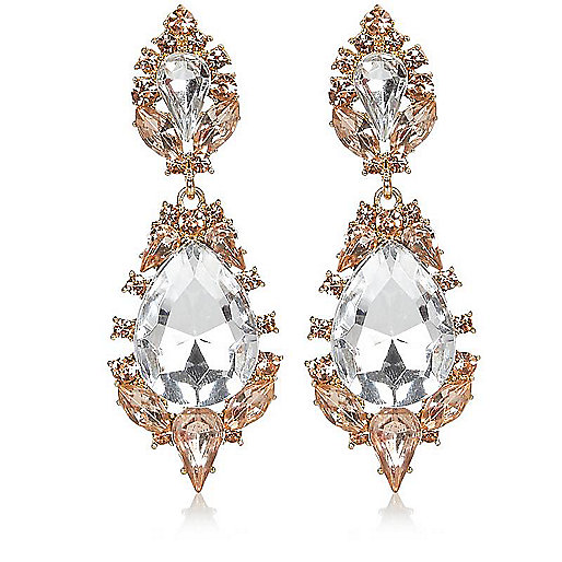 Gold tone teardrop statement earrings
