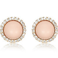 Light pink diamante surround stud earrings