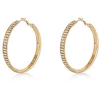 Gold tone diamante encased hoop earrings