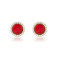 Red diamante surround stud earrings