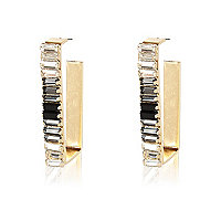 Gold tone baguette rectangle hoop earrings