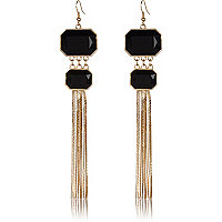 Black double stone chain tassel earrings