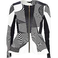 Black leather-look swirl print peplum jacket