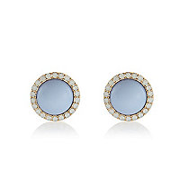 Light blue diamante surround stud earrings