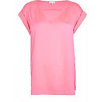Bright pink V neck woven t-shirt
