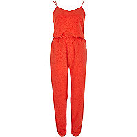 Orange animal jacquard cami jumpsuit
