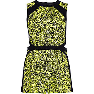 Yellow jacquard cut-out romper