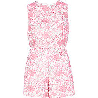 Pink lace cut out playsuit