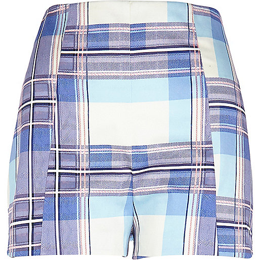 Lilac tartan high waisted shorts