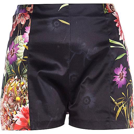 Black placement floral print shorts